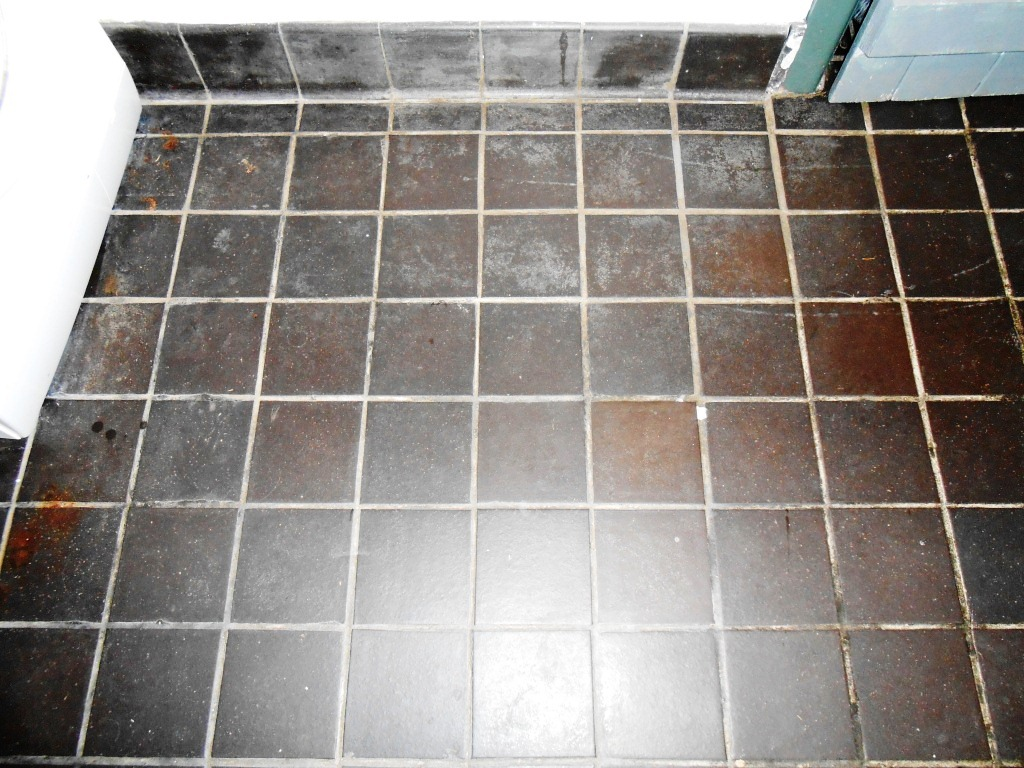 Black Quarry Tiles Before