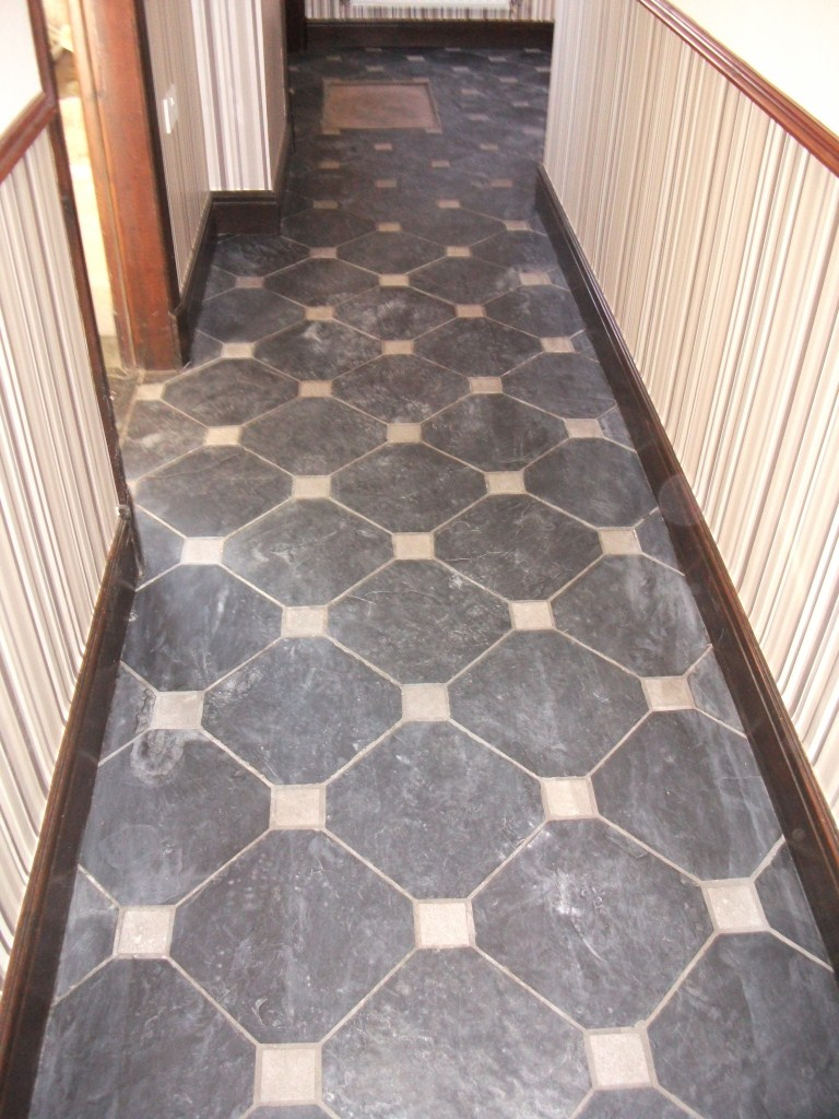 Black Slate with White Marble Inserts Southport Before Cleaning