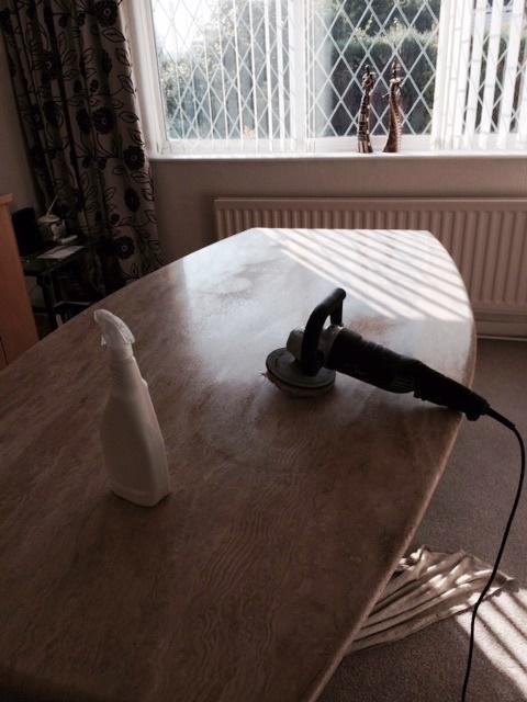 Travertine Table Top During Restoration Preston