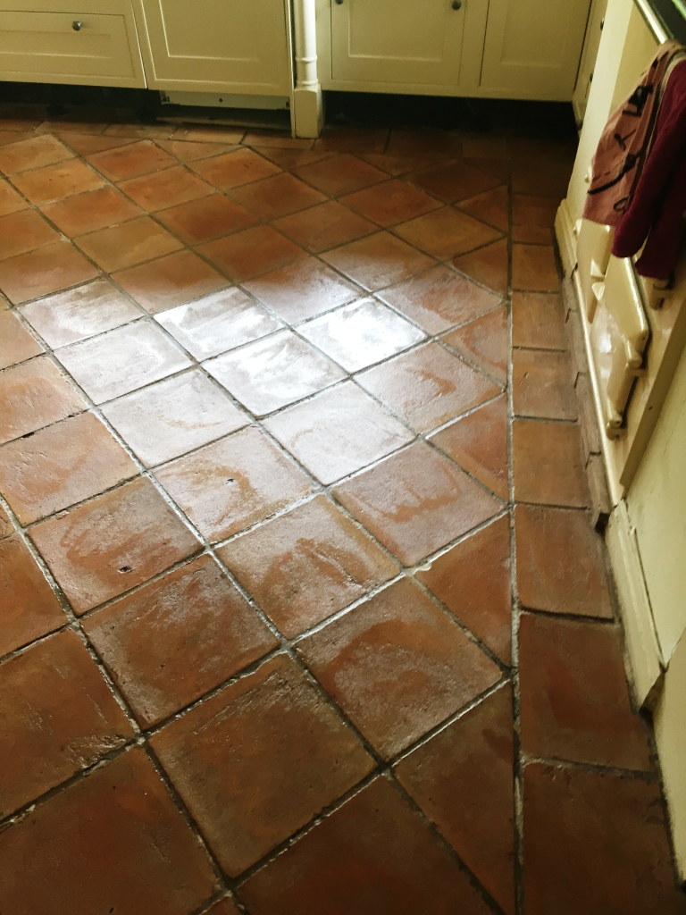 Black Terracotta in Pendle After Cleaning and Sealing