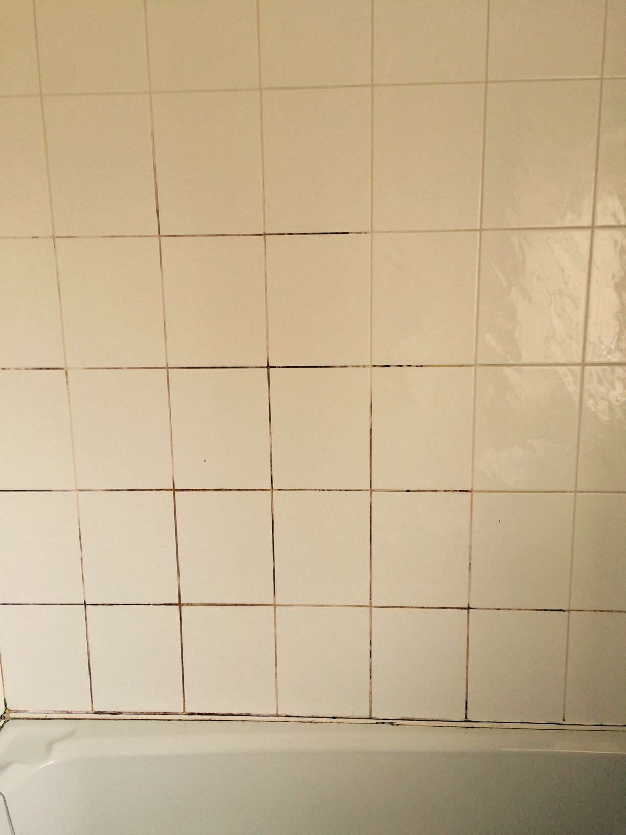 Ceramic Bathroom Tile and Grout Part Cleaned with Mould Away in Galgate
