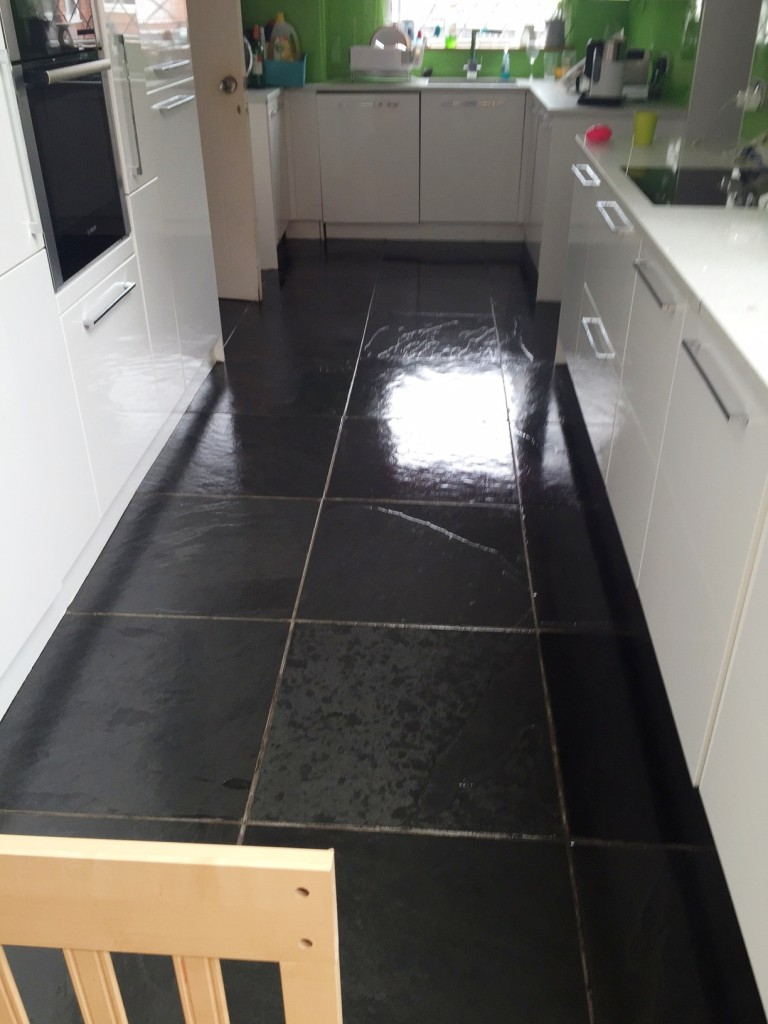 Brazilian Black Slate After Cleaning Sealing Thornton Cleveleys