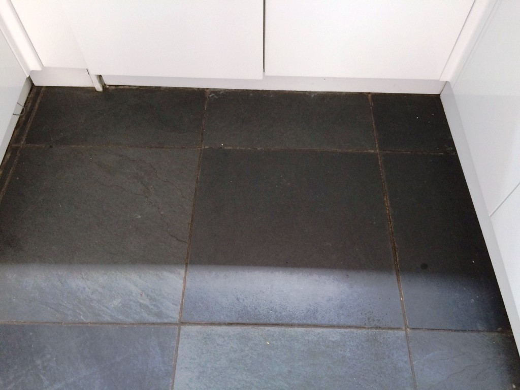 Brazilian Black Slate Before Cleaning Thornton Cleveleys