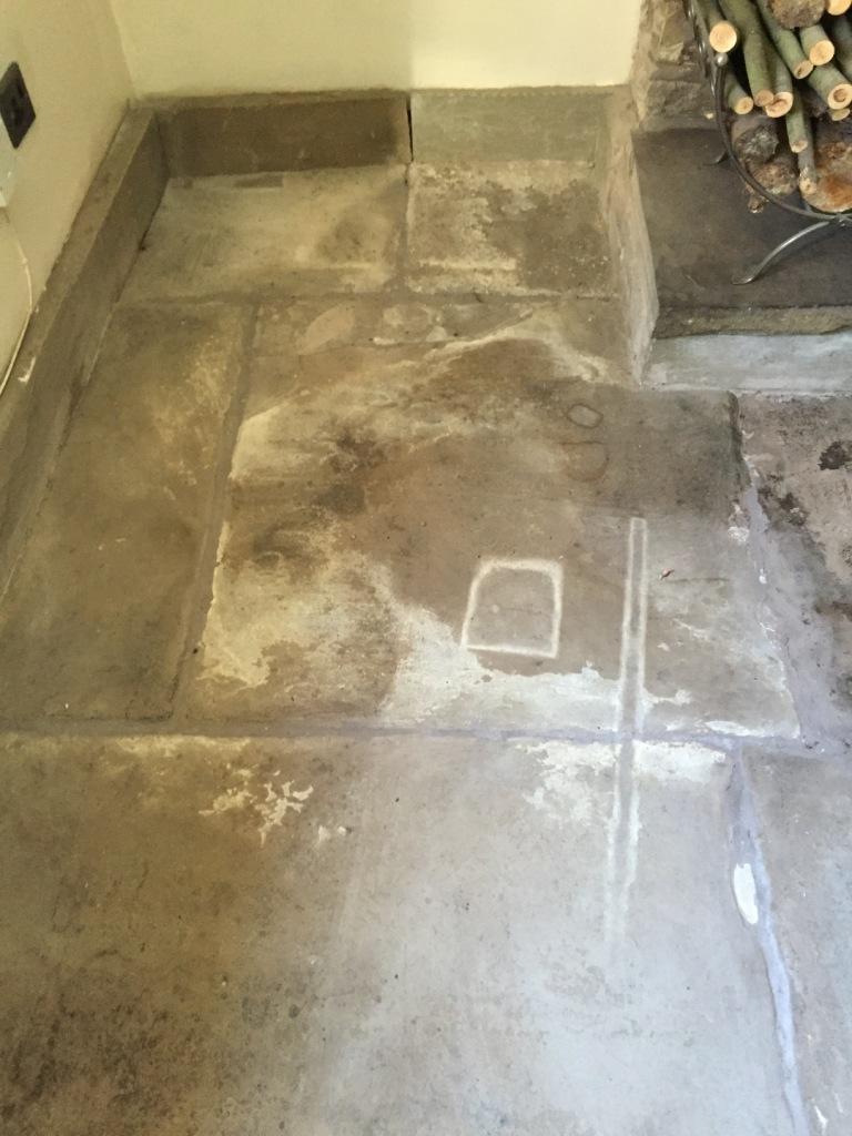 Flagstone floor before restoration in Chorley