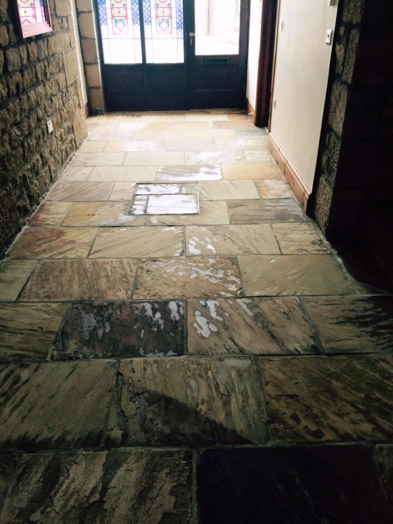 Indian sandstone floor Lancashire after restoration