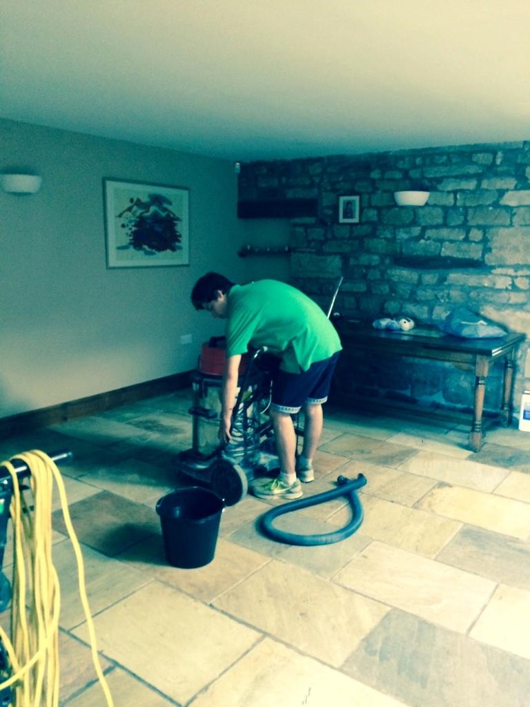 Indian sandstone floor Lancashire during restoration