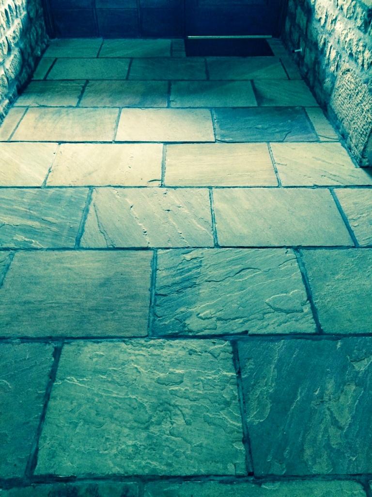 Indian sandstone floor Lancashire before restoration