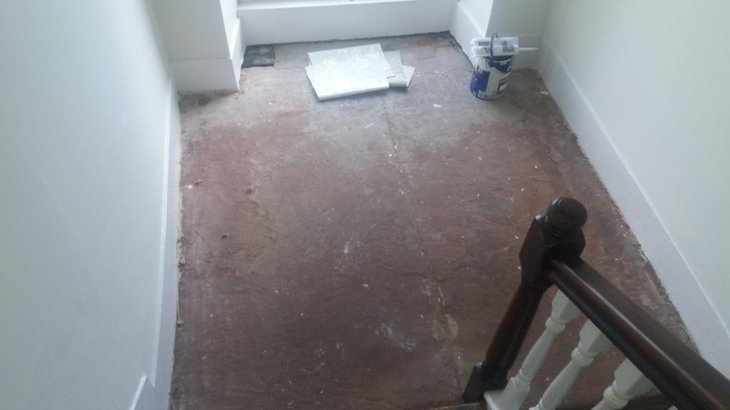 Red jurassic sandstone landing before cleaning
