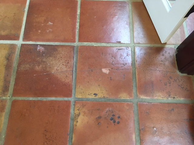 Mexican Terracotta Kitchen Floor Ormskirk Showing Cracked Grout