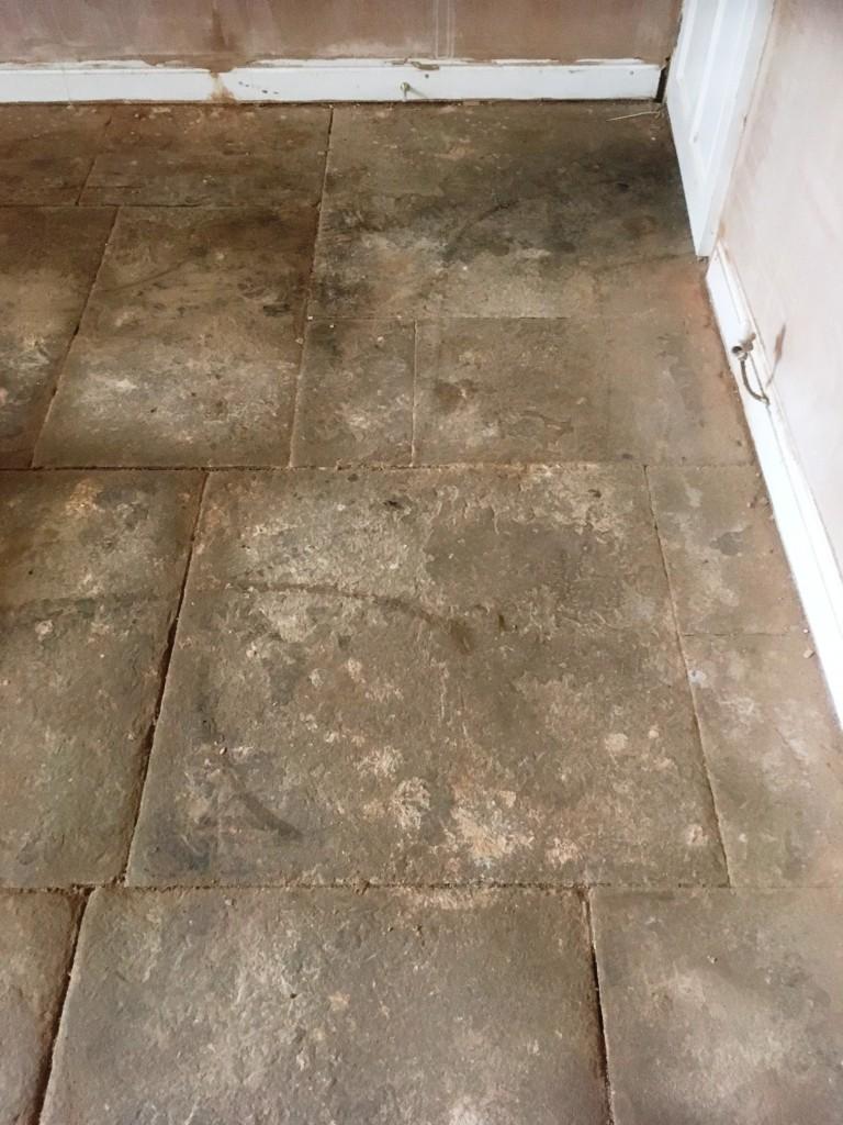 Flagstone Floor Before Restoration Great Harwood
