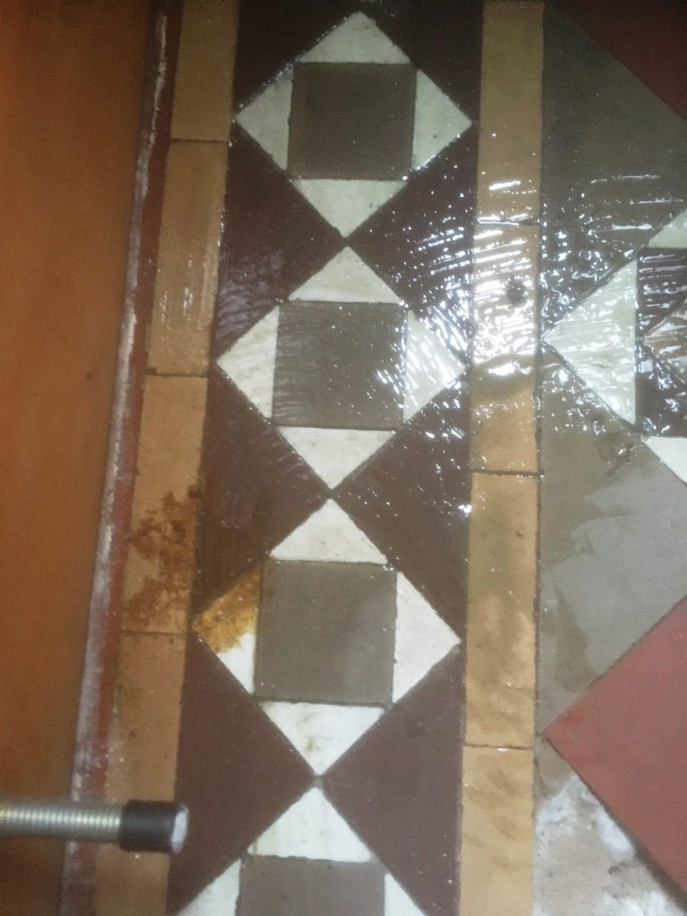 Edwardian Tiled Floor During Cleaning in Lytham