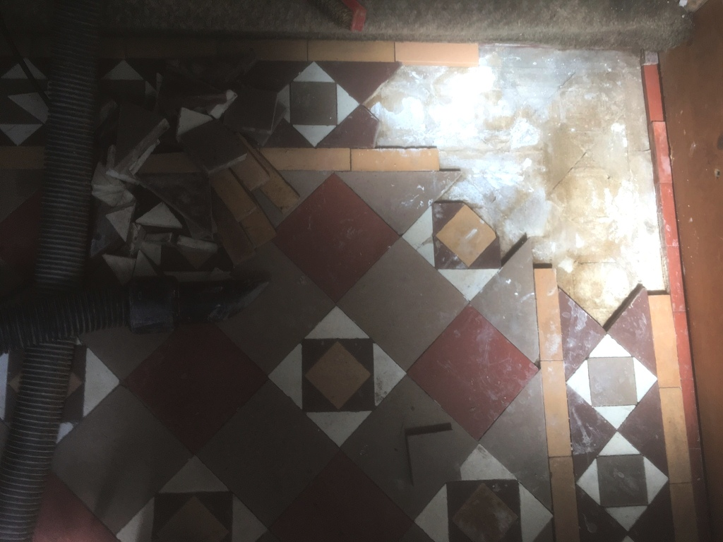 Edwardian Tiled Floor During Tile Repair in Lytham