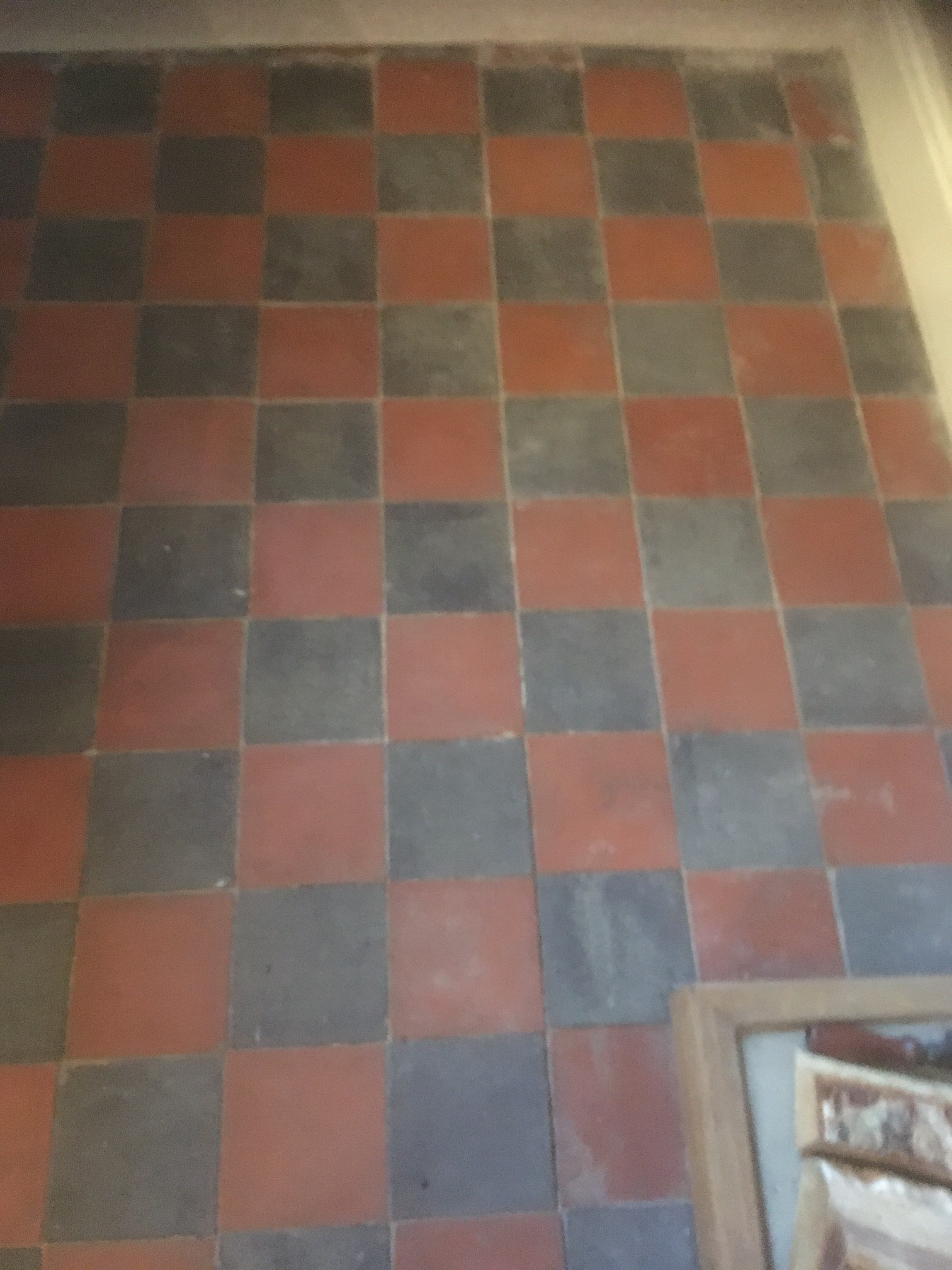 Red and Black Victorian Tiles Preston Before Cleaning