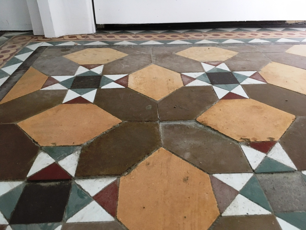 Victorian floor tiles during restoration Lancaster