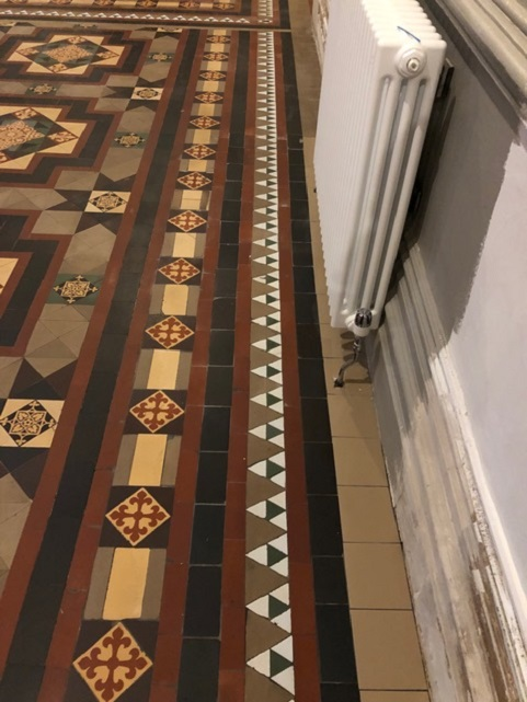 Victorian Tiled Floor Stone Cross Manor Hall After Restoration