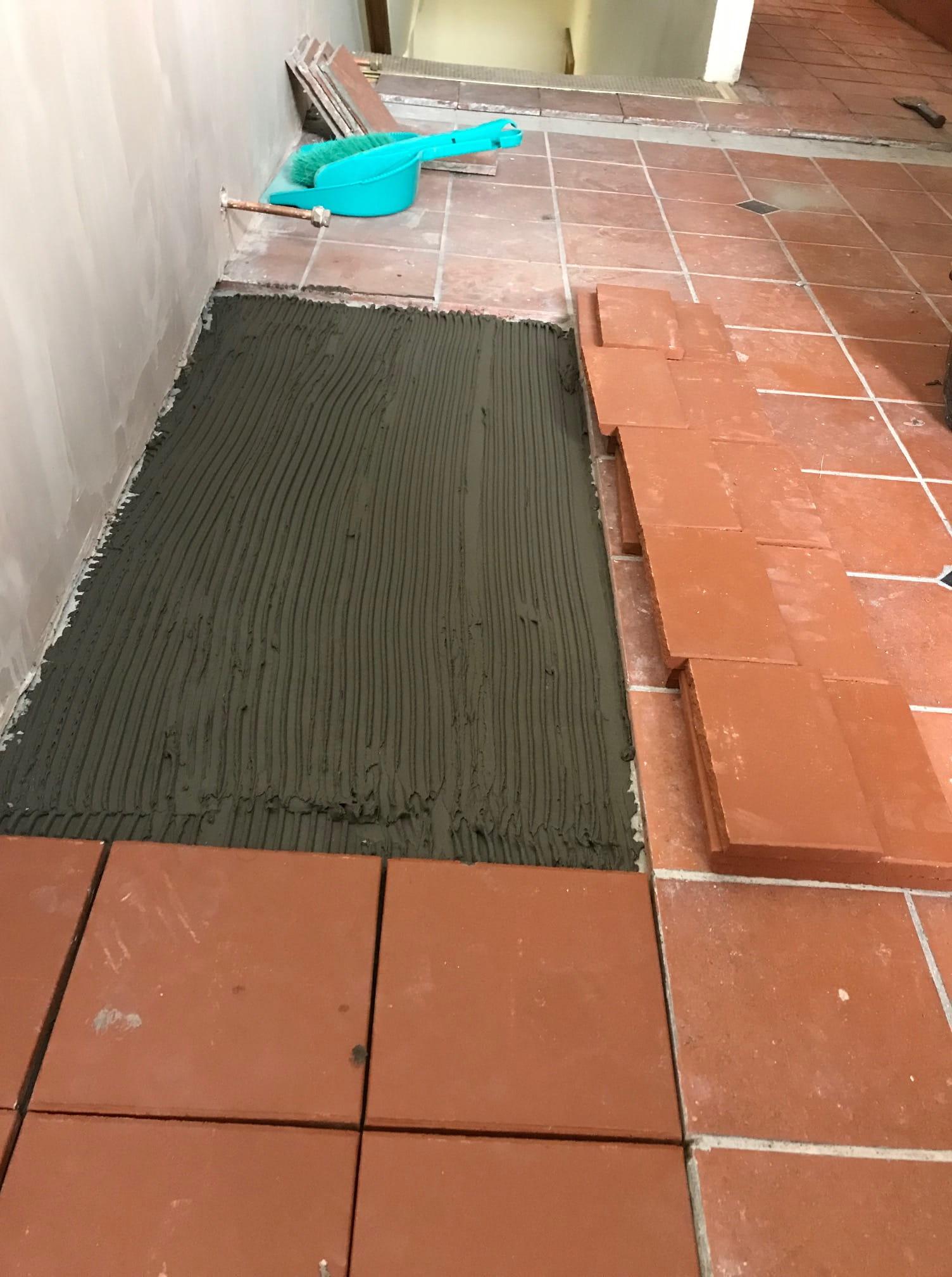 Quarry Tiled Floor Lancaster During Repair