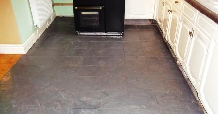 Painted Slate Floor before Restoration by Tile Doctor Lancashire