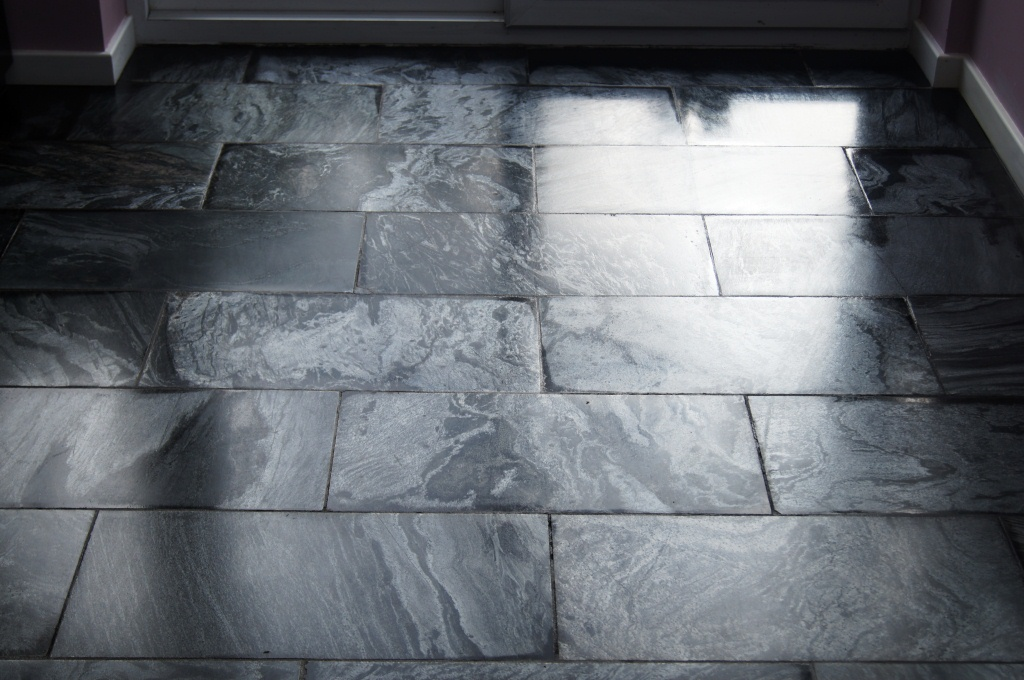 Cleaning And Milling Silver Pearl Pearlescent Slate Floor In