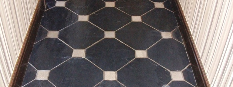 Black Slate with White Marble Inserts Southport After Cleaning
