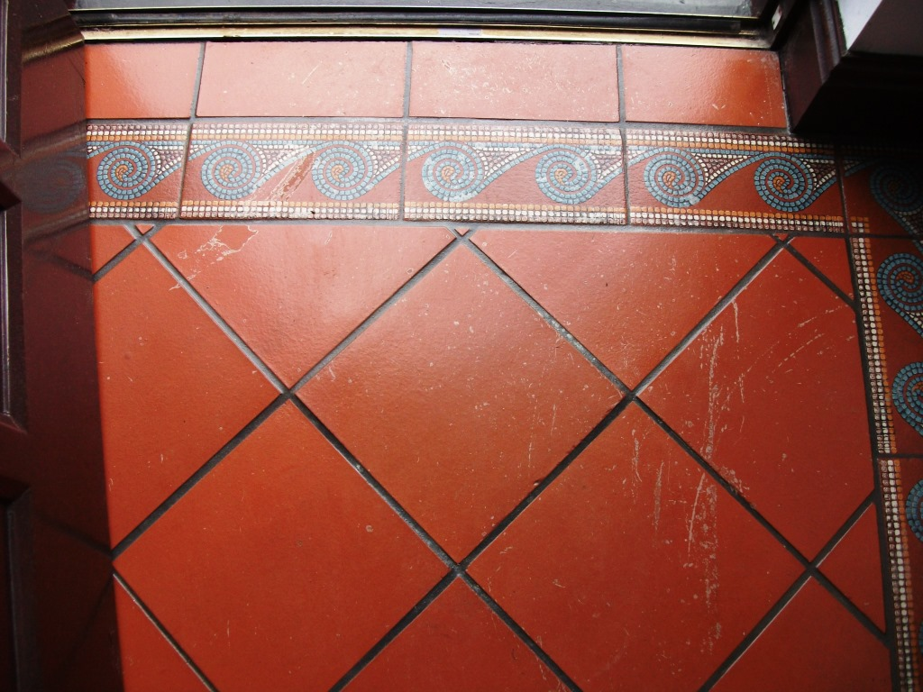 Varnished Quarry Tiles Cleaning Formby Before