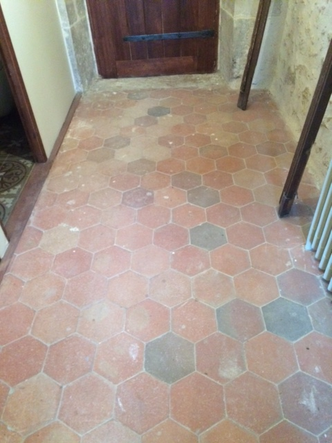 Quarry Tiles before cleaning at the French Chateaux Reims