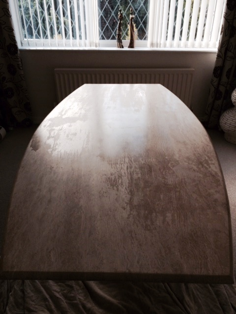 Travertine Table Top Before Restoration Preston