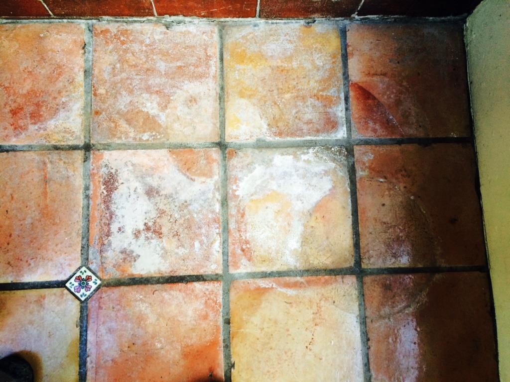 Terracotta conservatory floor Before cleaning Garstang