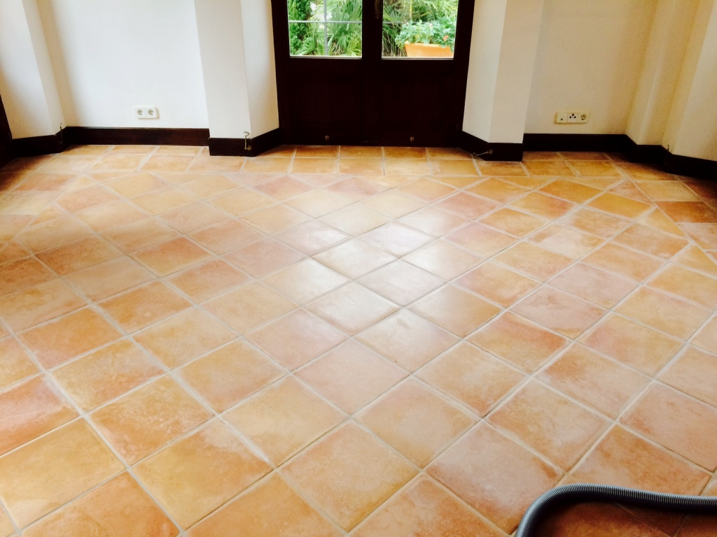 Spanish Terracotta Floor Cleaned And Sealed In Mallorca Tile Doctor Lancashire