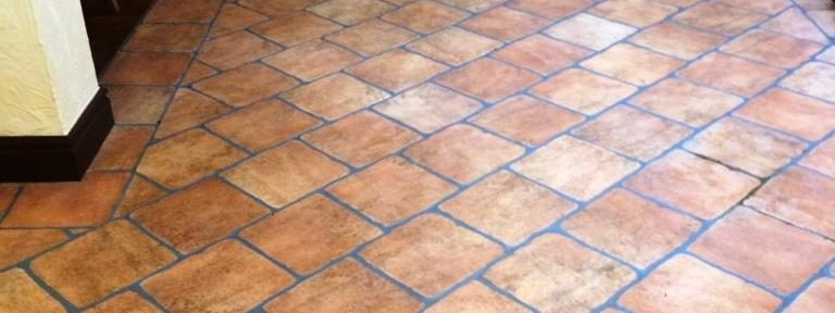 Grout Cleaning and Colouring for a Ceramic Terracotta Tiled Floor in Preston