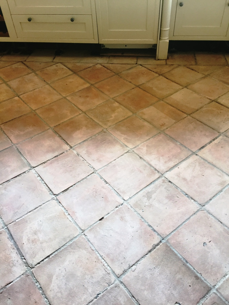 Black Terracotta in Pendle After Cleaning Before Sealing