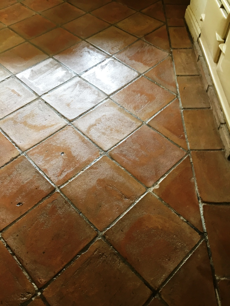 Wax Covered Terracotta Tiled Floor Restored To New In