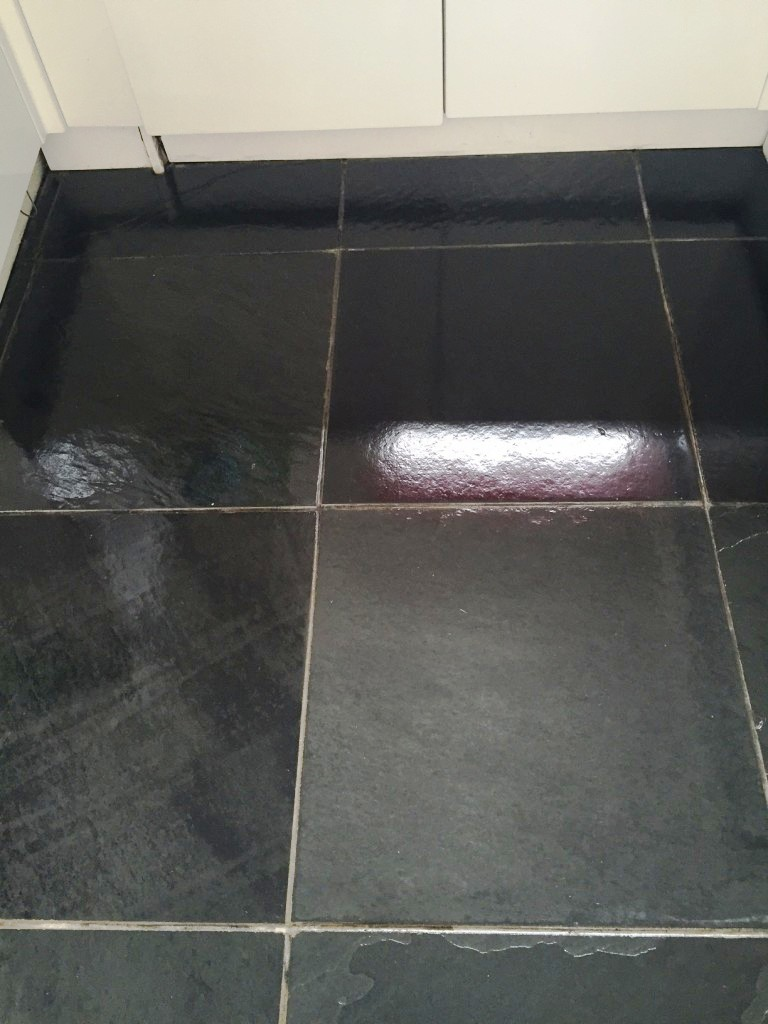 Kitchen stone cleaning and polishing tips for slate floors brazilian black slate after cleaning sealing thornton cleveleys dailygadgetfo Gallery