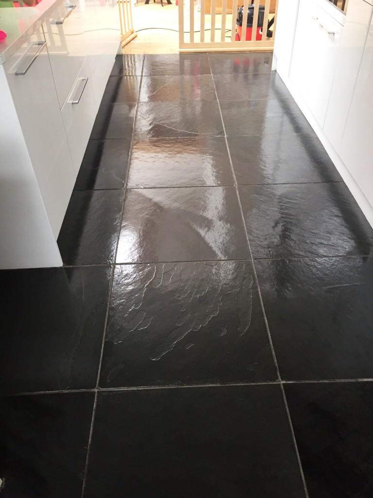 Fantastic Black Brazilian Slate Tiles Rejuvenated In Thornton Cleveleys Tile Doctor Lancashire