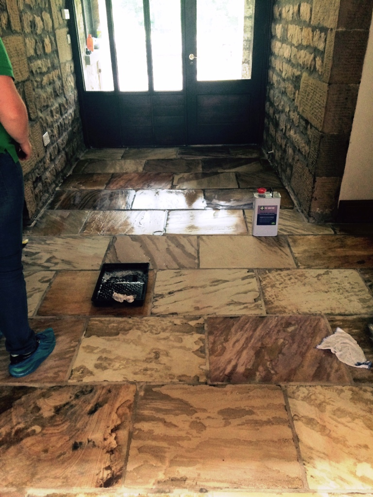 Smoothing rough indian sandstone tiles for interior use stone indian sandstone floor lancashire after restoration dailygadgetfo Choice Image