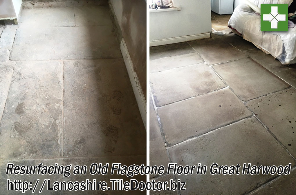 Old Flagstone Floor Before and After Restoration in Great Harwood