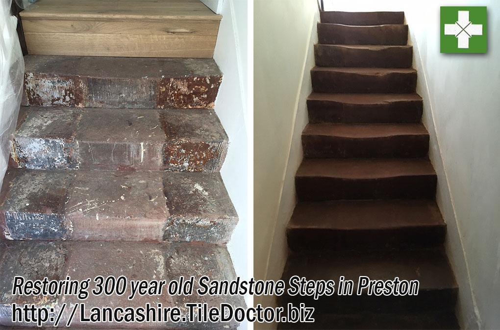 Red jurassic sandstone steps before and after restoration in Preston