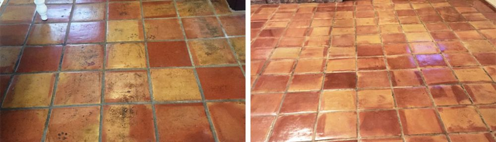 Cracked Mexican Terracotta Kitchen Tiles Restored in Ormskirk