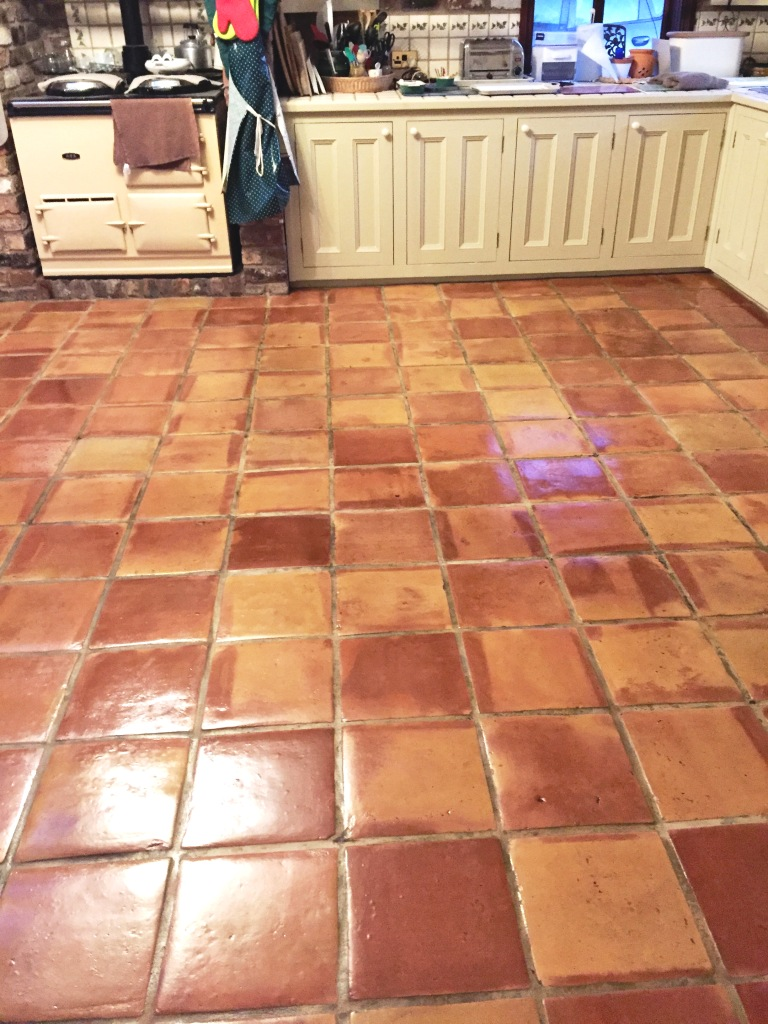 Mexican Terracotta Kitchen Floor After and Sealing
