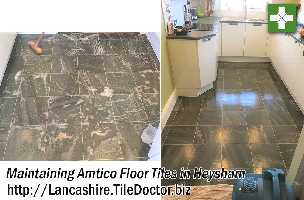 Amtico Vinyl Tiled Kitchen During and After Cleaning and Sealing Heysham