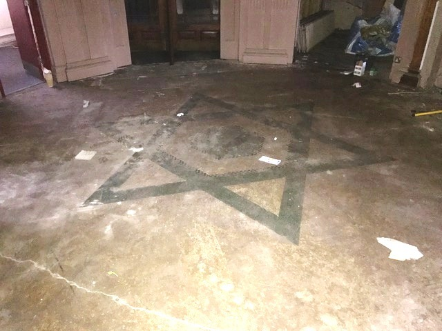 Mosaic Terrazzo Floor Llandudno Restaurant Before Restoration