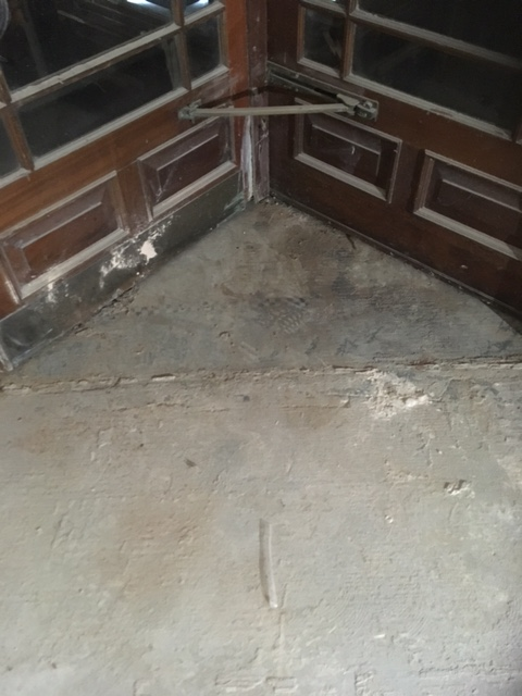 Mosaic Terrazzo Rotating Door Floor Llandudno Restaurant Before Restoration