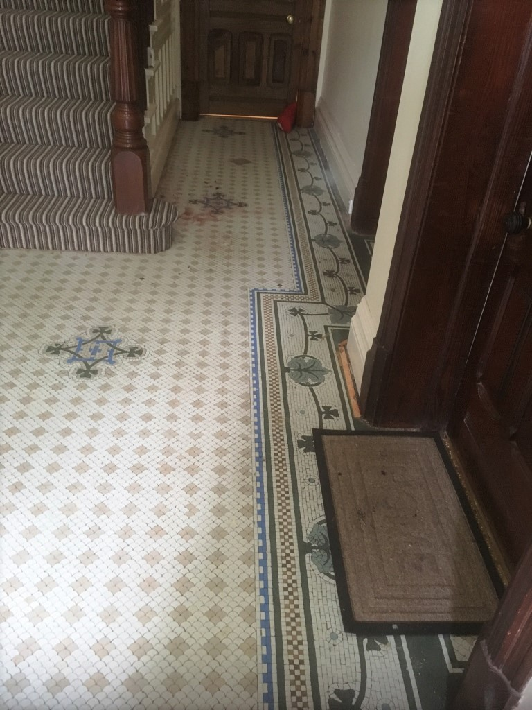 Restoring victorian mosaic hallway tiles near blackpool cleaning original victorian tiled floor before cleaning lytham st annes dailygadgetfo Images