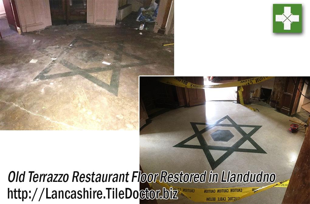 Terrazzo Floor Before and After Restoration Llandudno