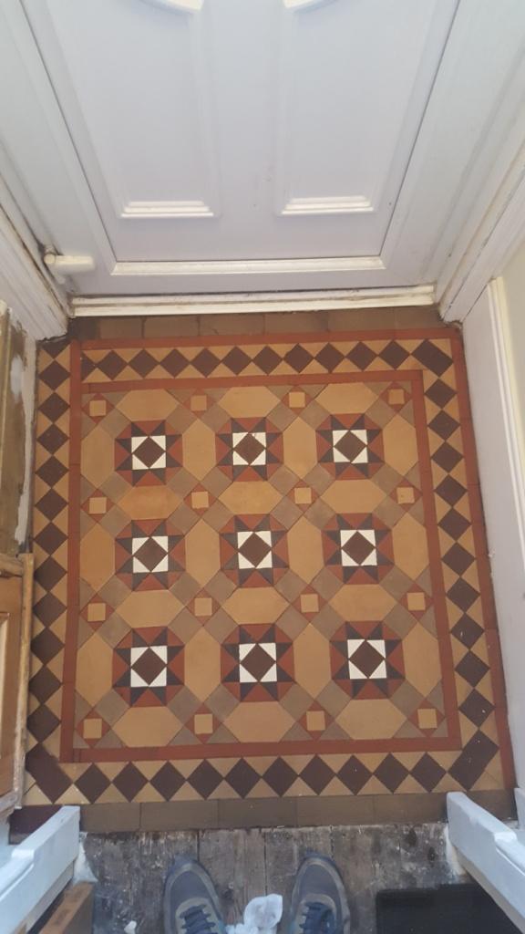 Victorian Tiled Porch Hidden Under Vinyl Restored In Lytham Tile