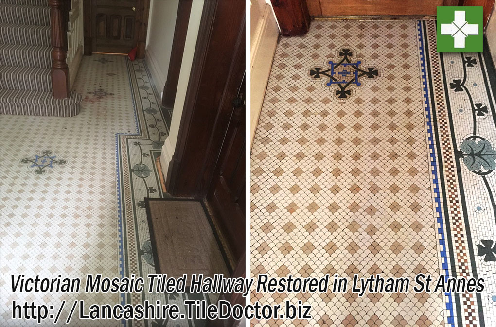 Victorian Tiled Hallway Before and After Cleaning Lytham St Annes