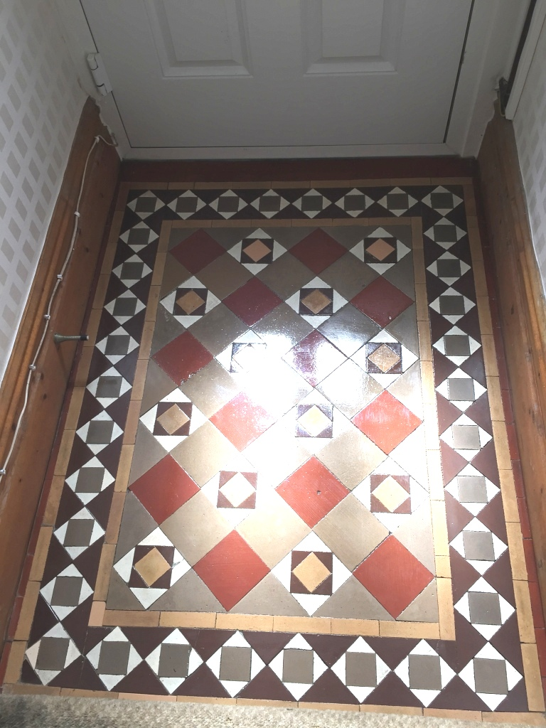 Original edwardian tiles refreshed and revitalised in lytham st edwardian tiled floor after cleaning in lytham dailygadgetfo Choice Image