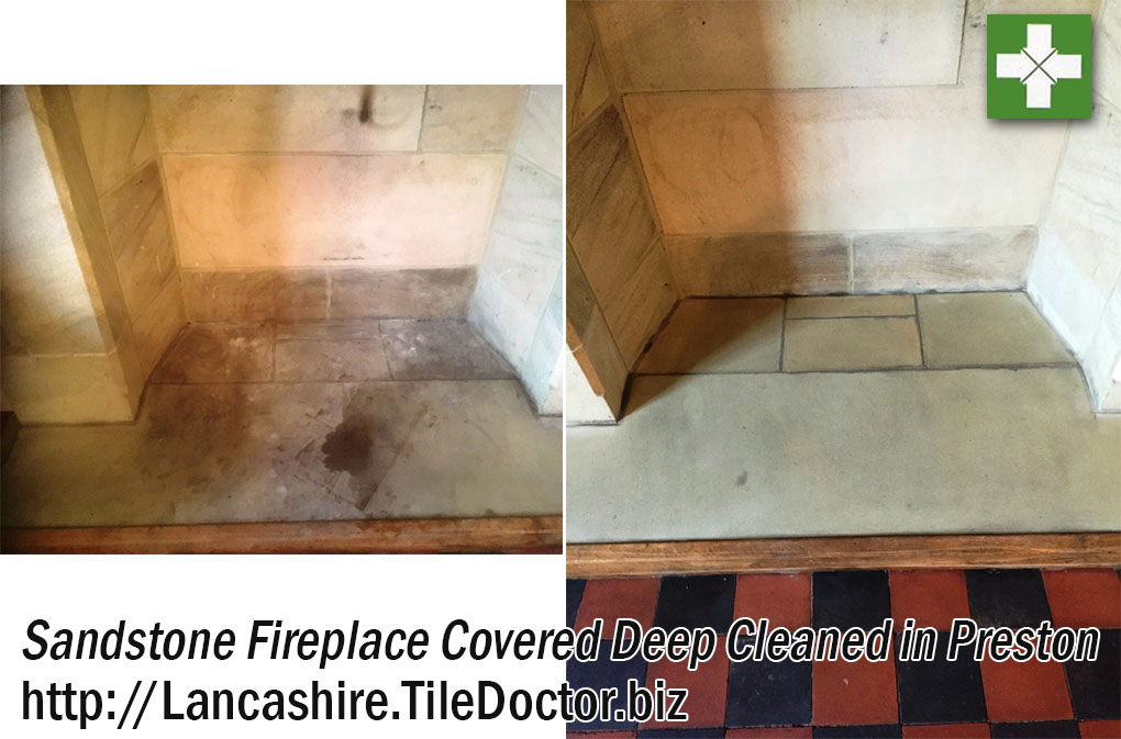 Sandstone Fireplace Before and After Cleaning in Preston