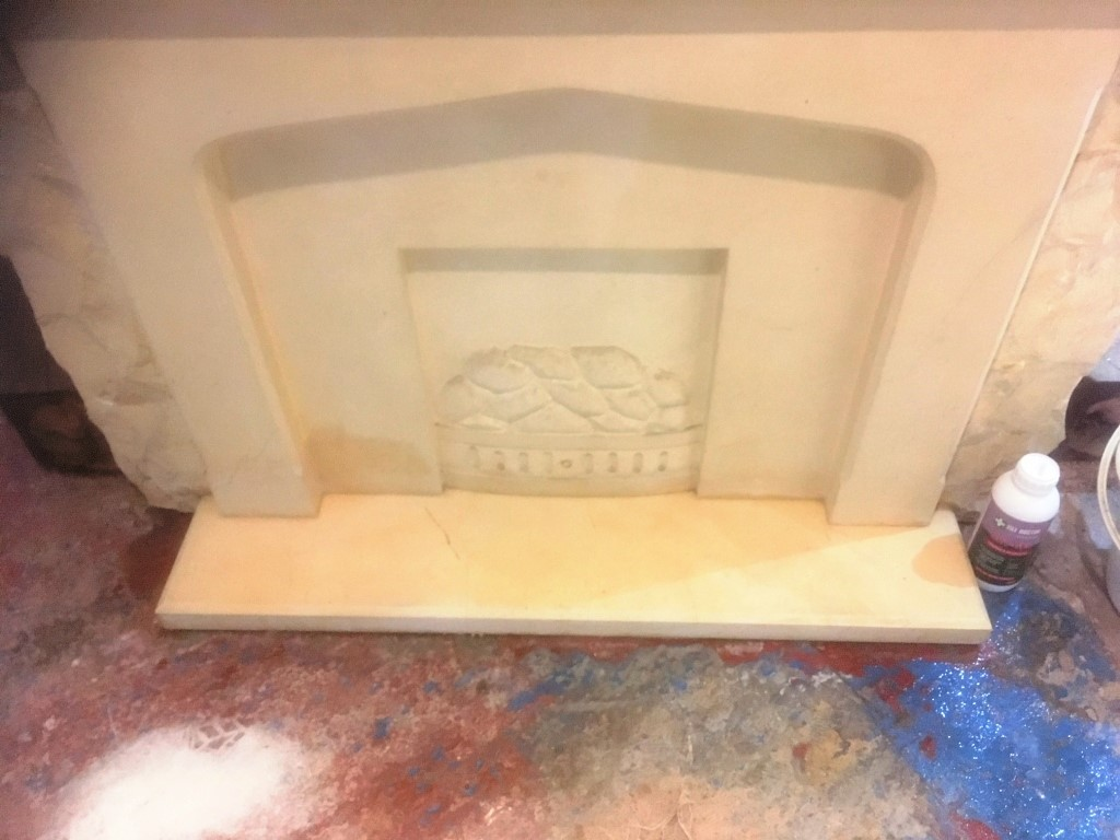 Floor Damaged Limestone Fireplace Hearth After Cleaning