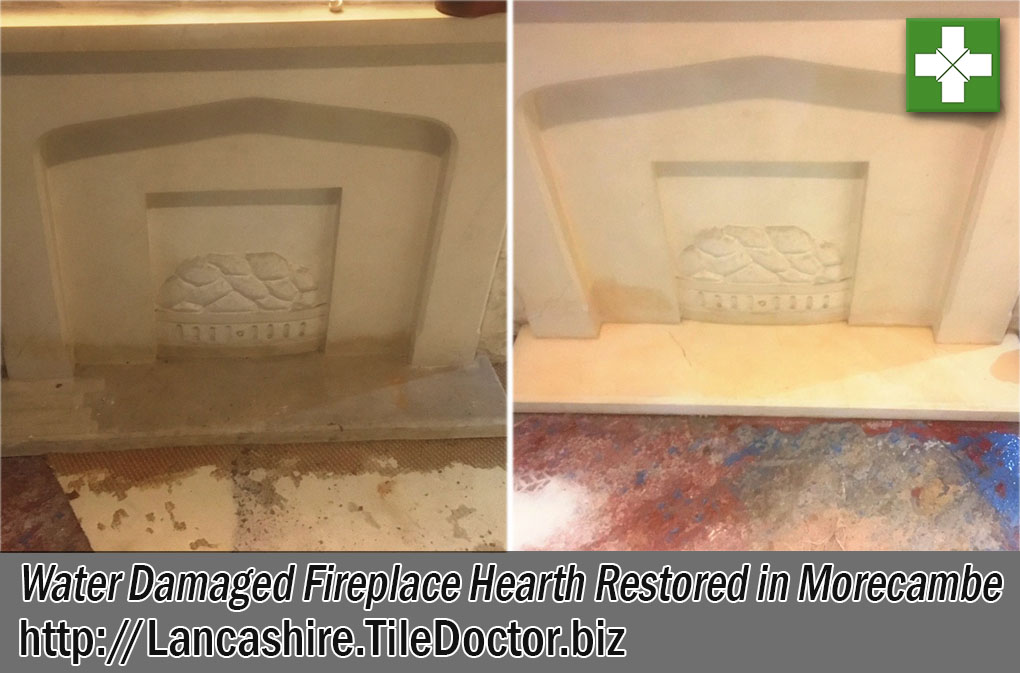 Water Damaged Fireplace Hearth Before and After Renovation Morecambe