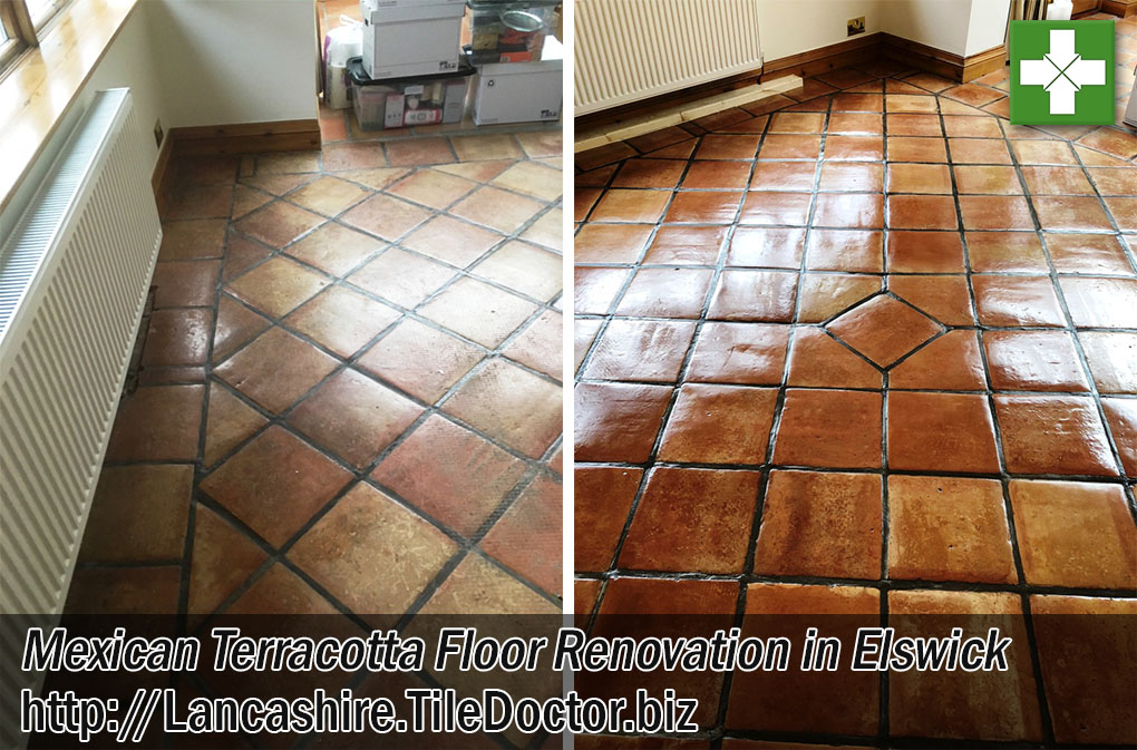 Mexican Terracotta Tiled Floor Before and After Deep Cleaning Elswick Preston